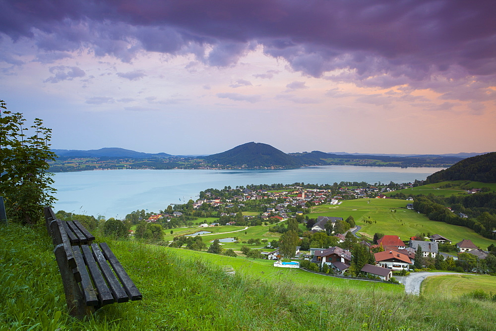 Elevated view over picturesque Weyregg am Attersee illuminated at dawn, Attersee, Salzkammergut, Austria, Europe