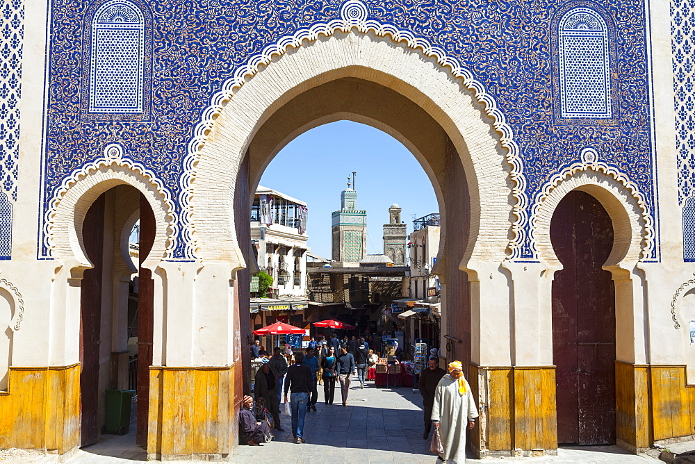 Bab Boujeloud Gate (The Blue Gate), The Medina, Fez, UNESCO World Heritage Site, Morocco, North Africa, Africa