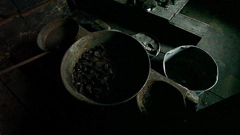 Pots on stove in Discovery Hut, Ross Island, Antarctica