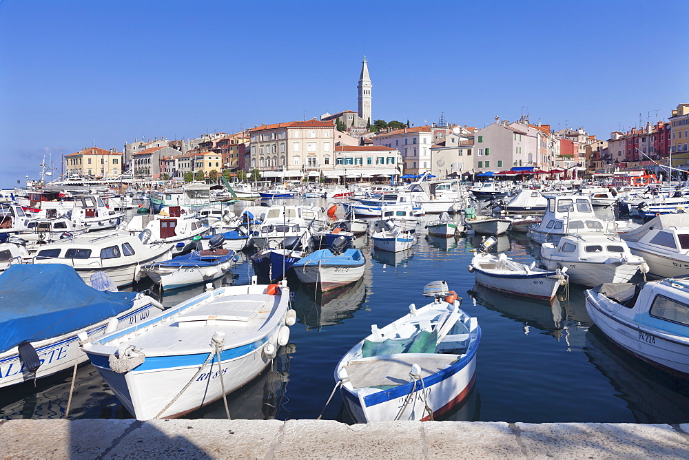 Harbour and the old town with the cathedral of St. Euphemia, Rovinj, Istria, Croatia, Adriatic, Europe