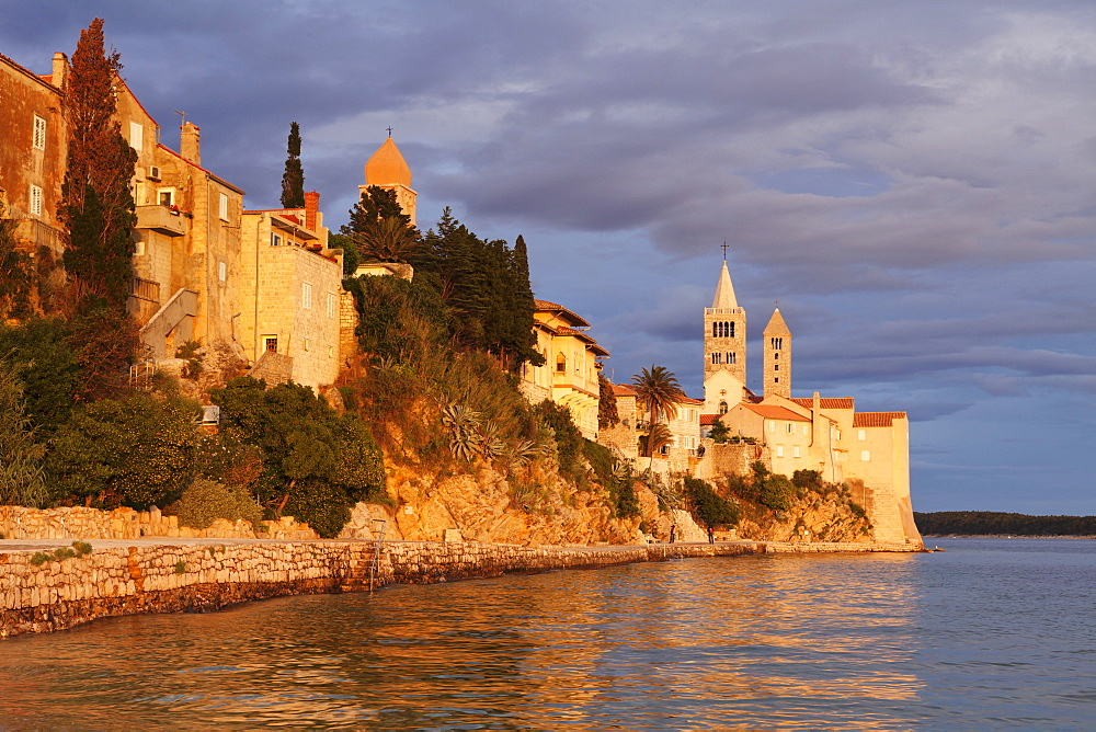 Old town of Rab town with four medieval belltowers at sunset, Rab town, Rab Island, Kvarner region, Dalmatia, Adriatic Sea, Croatia, Europe