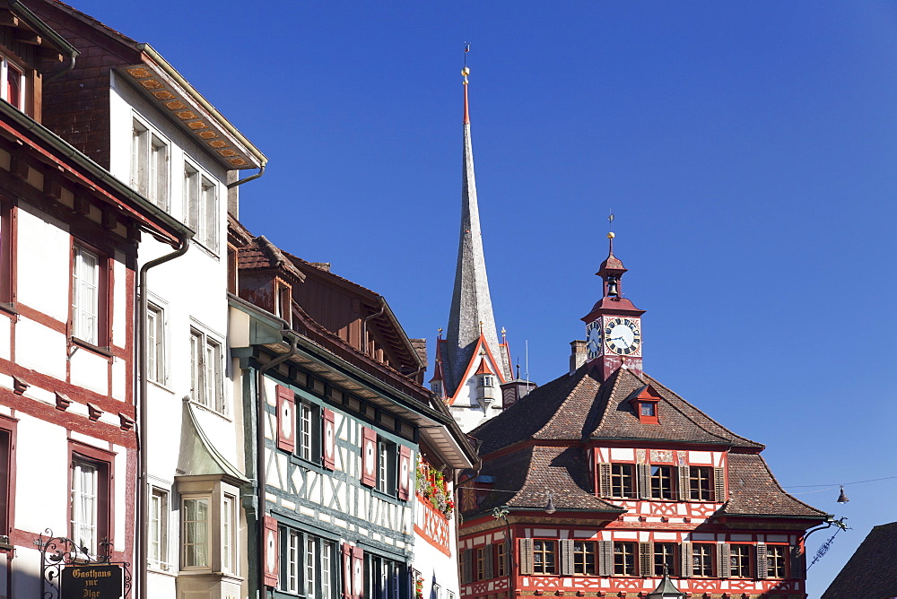 Historic townhouses and town hall in the market place, Stein am Rhein, Canton Schaffhausen, Switzerland, Europe