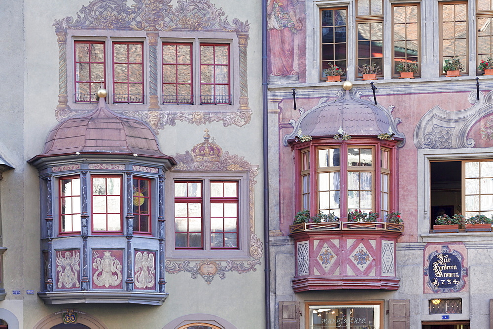 Facades of the town houses at the Rathausplatz square, Stein am Rhein, Canton Schaffhausen, Switzerland, Europe