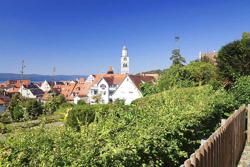 View over the old town with St. Nikolaus Minster, Uberlingen, Lake Constance (Bodensee), Baden Wurttemberg, Germany, Europe