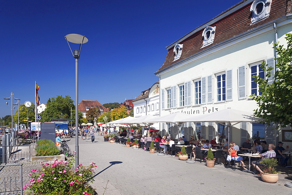 Promenade with restaurant and street cafe, Uberlingen, Lake Constance (Bodensee), Baden Wurttemberg, Germany, Europe