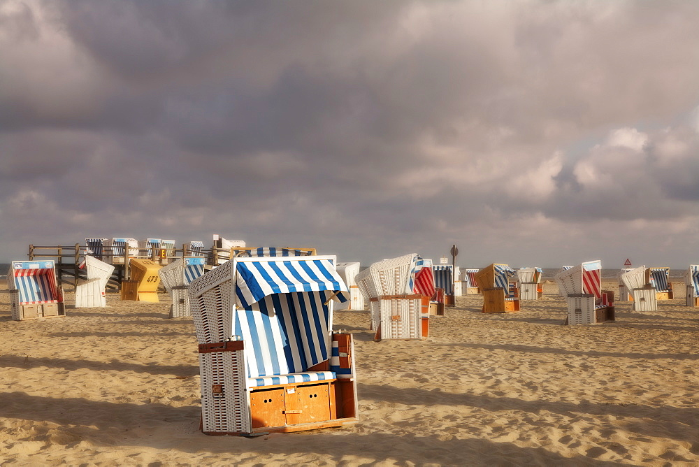 Beach chairs at the beach of Sankt Peter Ording, Eiderstedt peninsula, Schleswig Holstein, Germany, Europe