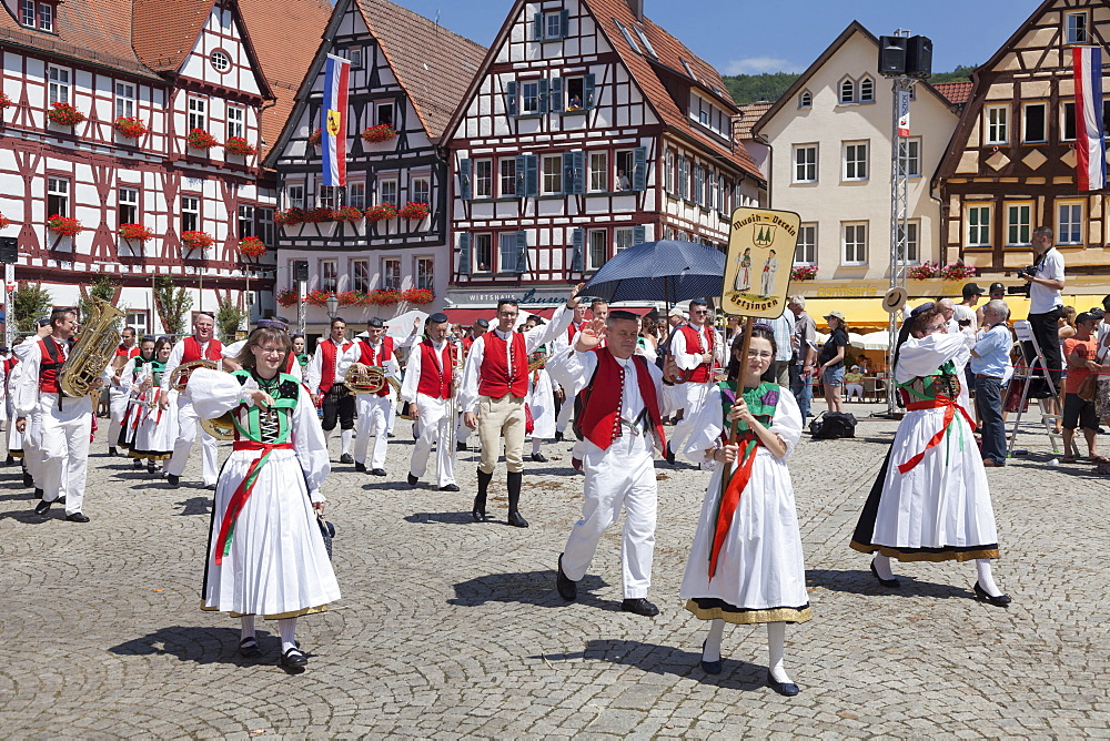 Historical parade at Bad Urach Schaferlauf, Bad Urach Swabian Alb, Baden Wurttemberg, Germany, Europe