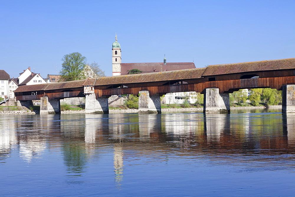 Historical wooden bridge and cathedral (Fridolinsmunster), Bad Sackingen, Black Forest, Baden Wurttemberg, Germany, Europe