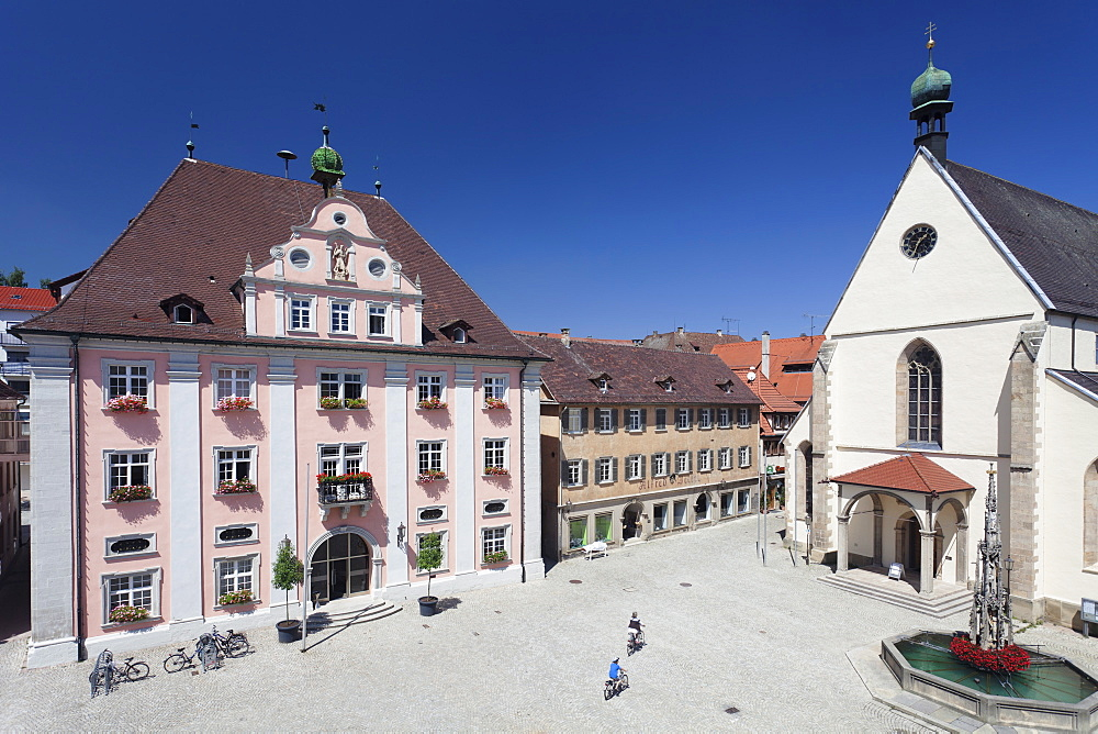 Old town with market place, town hall and St. Martin Cathedral, Rottenburg am Neckar, near Tubingen, Baden Wurttemberg, Germany, Europe