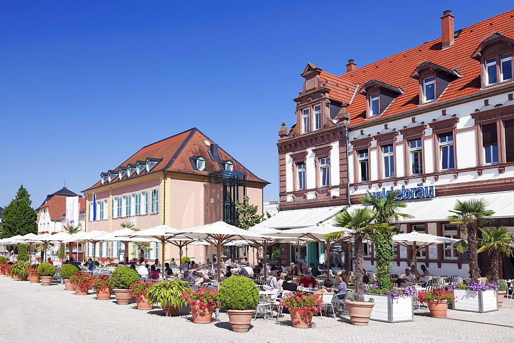 Street cafe and Palais Hirsch, Schwetzingen, Rhein-Neckar-Kreis, Baden Wurttemberg, Germany, Europe