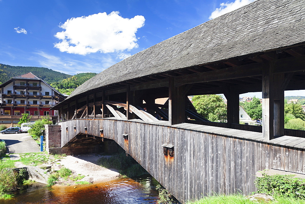 Historical wooden bridge, Forbach, Murgtal Valley, Black Forest, Baden Wurttemberg, Germany, Europe