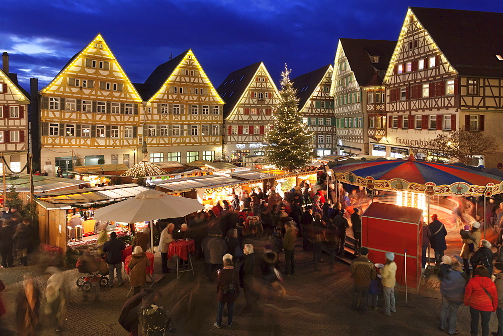 Christmas Fair in the Market Place, Herrenberg, Boblingen District, Baden Wurttemberg, Germany, Europe