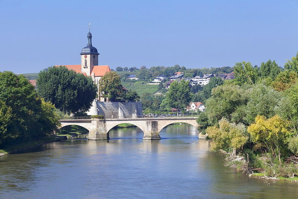 Regiswindiskirche church and the old Bridge over the Neckar River, Lauffen am Neckar, Baden Wurttemberg, Germany, Europe