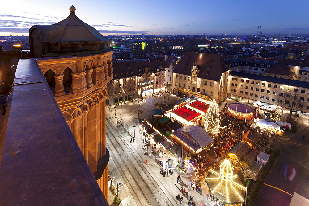 View from Kilianskirche church of Christmas fair in the marketplace, town Hall with astronomical clock, Heilbronn, Baden Wurttemberg, Germany, Europe