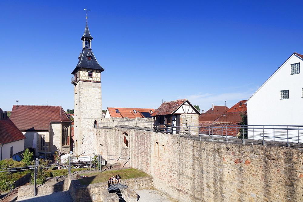 Burgplatz Square with Oberer Torturm Tower, Marbach am Neckar, Neckartal Valley, Ludwigsburg District, Baden Wurttemberg, Germany, Europe