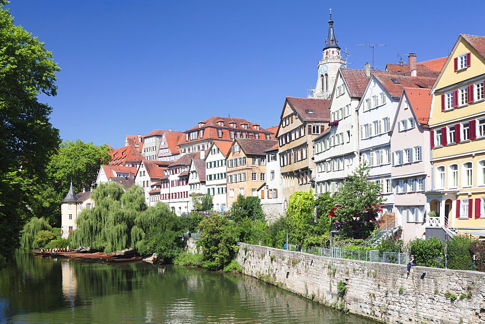 Old town with Holderlinturm tower Stiftskirche church reflecting in the River Neckar, Tubingen, Baden Wurttemberg, Germany, Europe