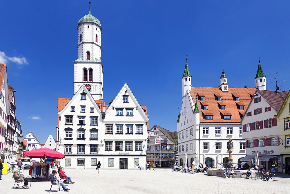 St. Martin church and town hall, market square, Biberach an der Riss, Upper Swabia, Baden Wurttemberg, Germany, Europe