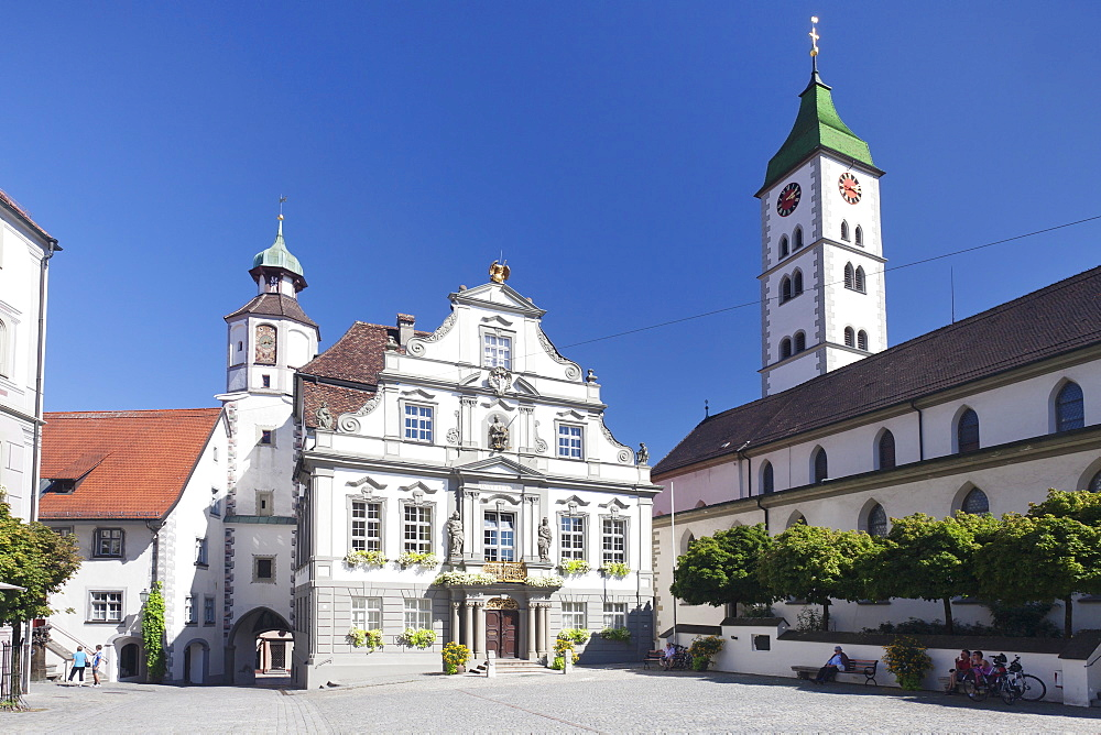 Town Hall, Market Square and St. Martin Church, Wangen, Upper Swabia, Baden Wurttemberg, Germany, Europe