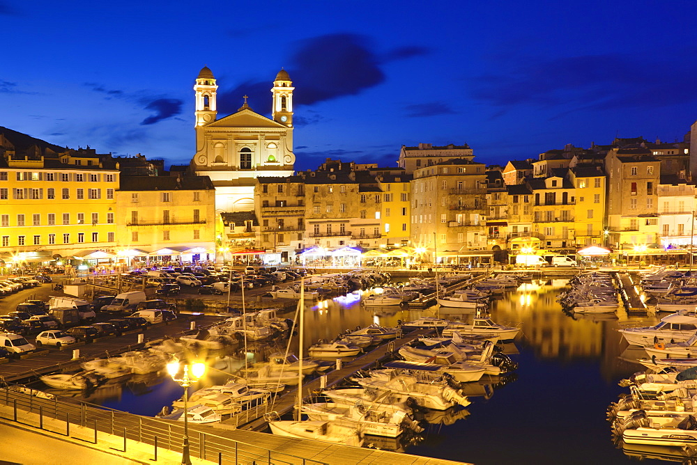 Old town at the old harbour with the church of Jean Baptiste, Bastia, Corsica, France, Mediterranean, Europe