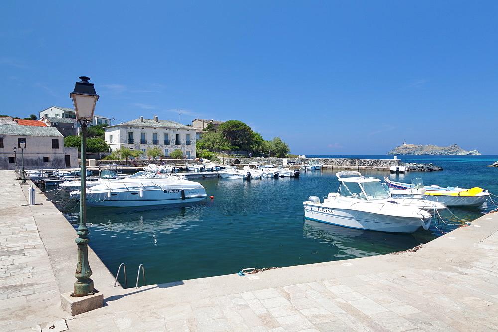 Port of Macinaggio and the island La Giraglia in the background, Corsica, France, Mediterranean, Europe