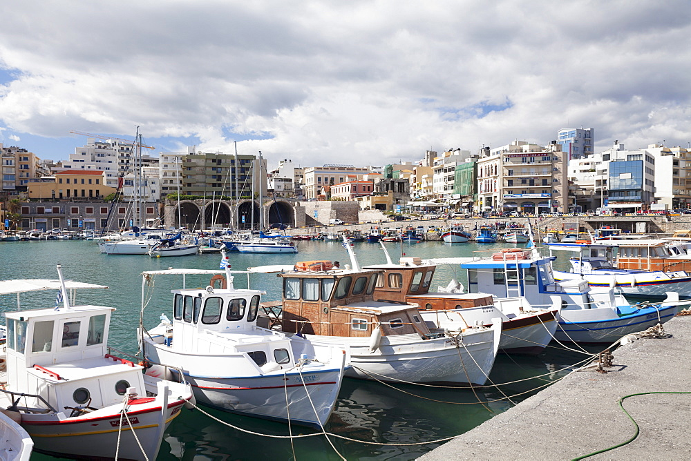 View from Venetian harbour, Iraklion (Heraklion) (Iraklio), Crete, Greek Islands, Greece, Europe