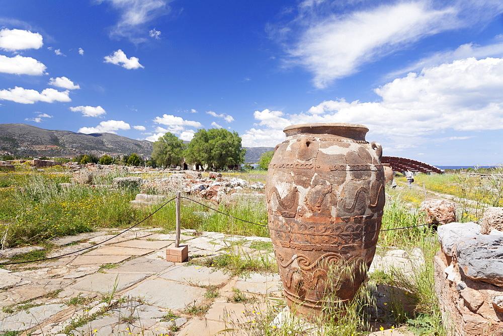Clay container, Minoan Palace, excavation site,  Malia, Heraklion, Crete, Greek Islands, Greece, Europe