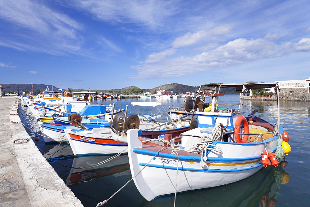 Fishing boats and harbour, Elounda, Lasithi, Gulf of Mirabello, Crete, Greek Islands, Greece, Europe