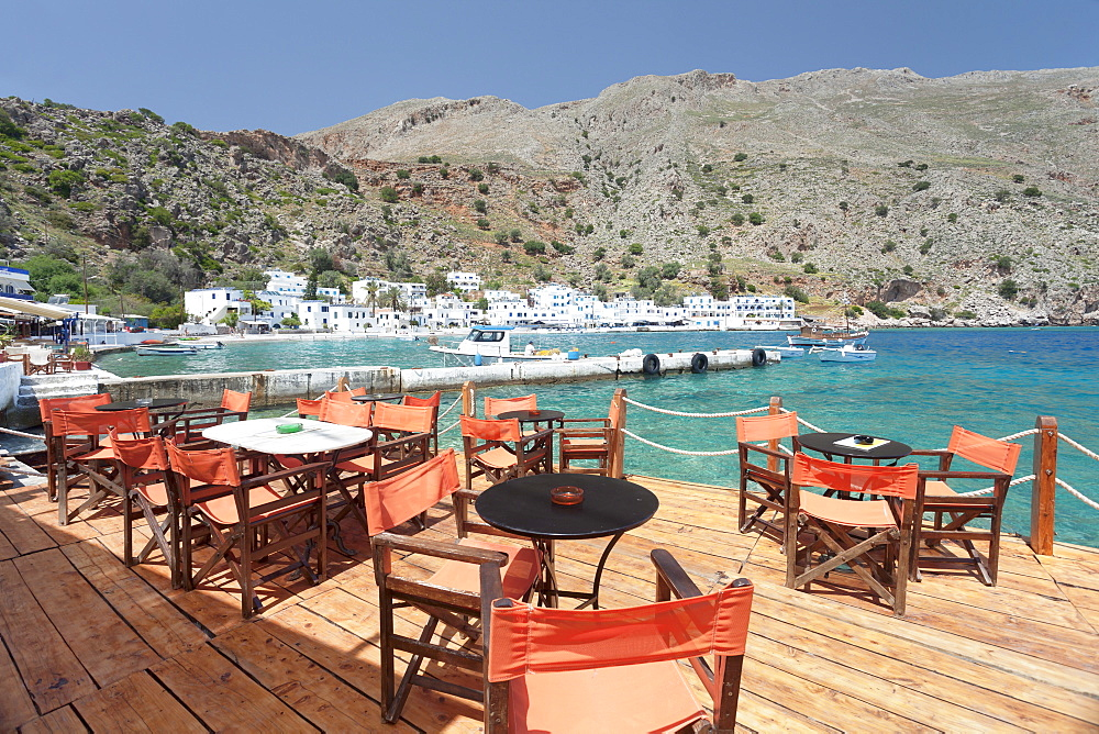 Street cafe at the Promenade, Loutro, South Crete, Crete, Greek Islands, Greece, Europe