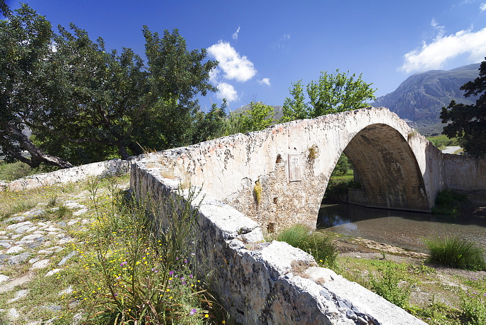 Venetian Bridge, near Preveli Monastery, Valley of Megalopotamos River, Rethymno District, Crete, Greek Islands, Greece, Europe