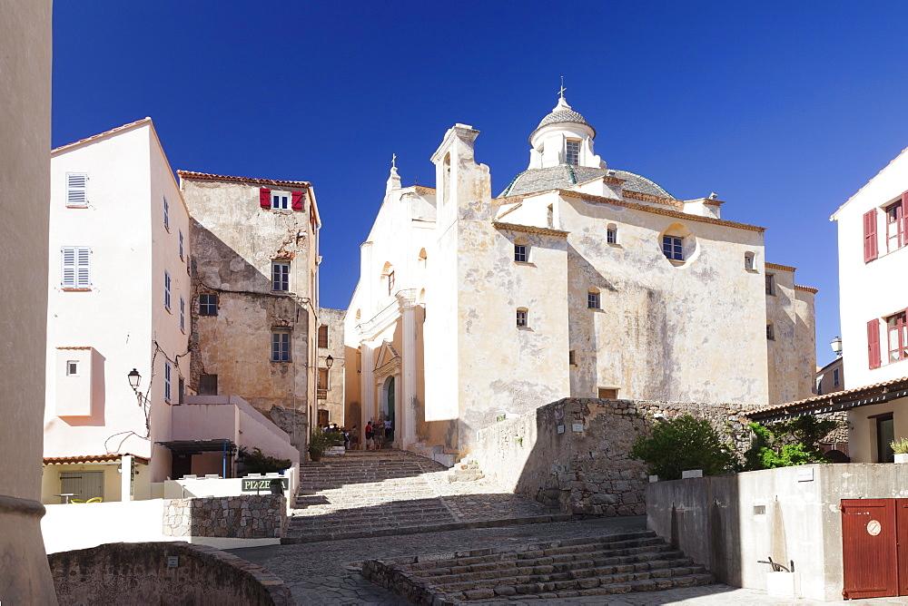 Old town of Calvi with the church of Saint Jean Baptiste, Calvi, Balagne, Corsica, France, Mediterranean, Europe