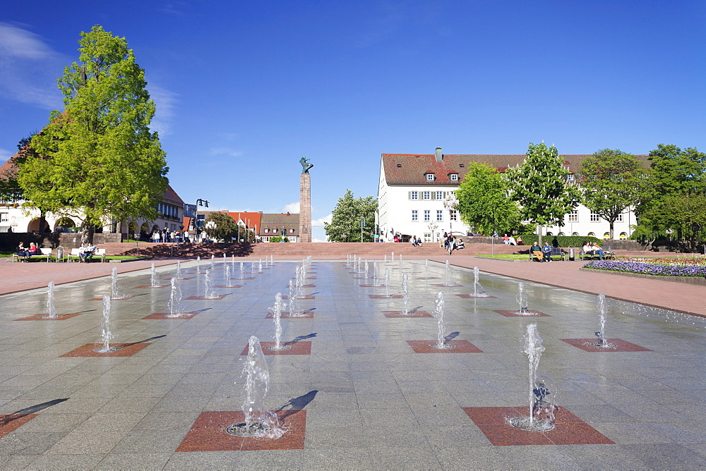 Fountains, marketplace, Freudenstadt, Black Forest, Baden Wurttemberg, Germany, Europe