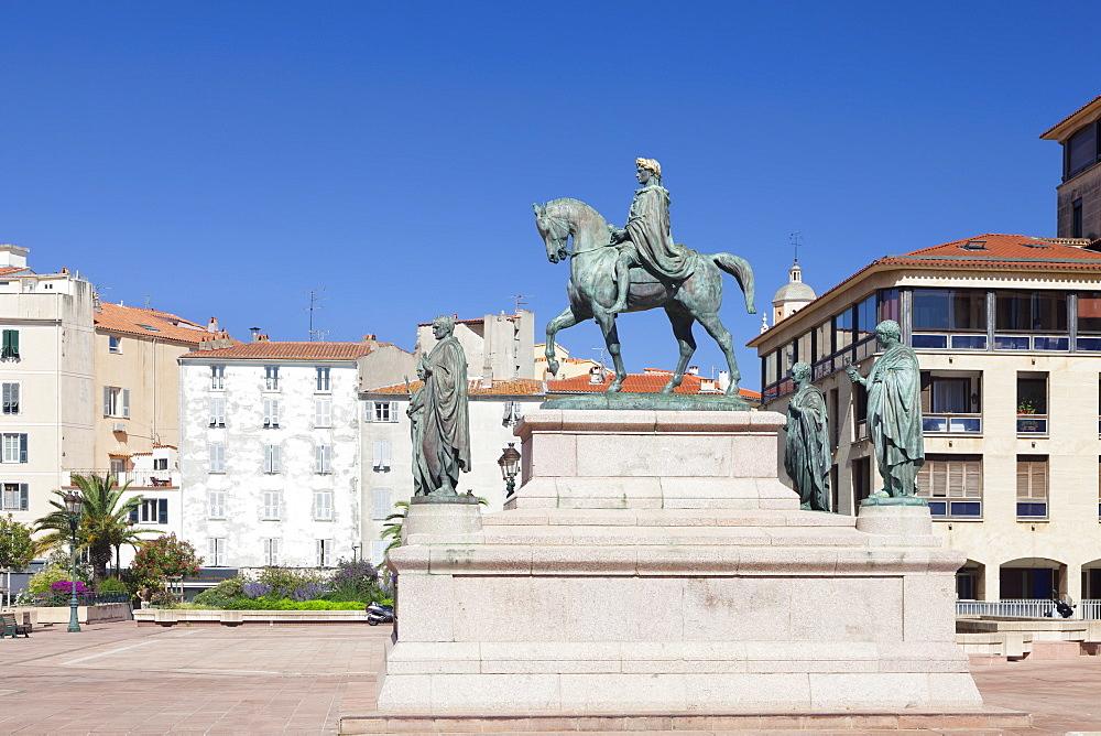Napoleon monument at Place du Gaulle (Place du Diamant), Ajaccio, Corsica, France, Mediterranean, Europe