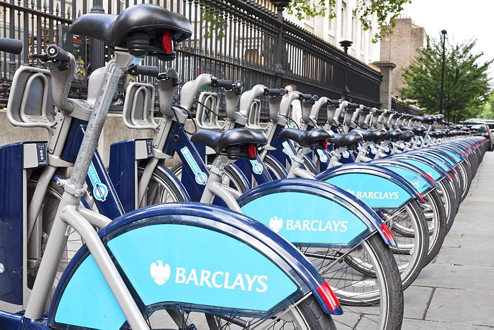 Barclays Cycle Hire, Boris Bike, Cycle Hire at Docking Station, London, England, United Kingdom, Europe