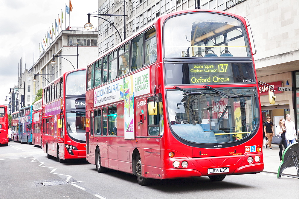 Red double decker bus on Oxford Street, London, England, United Kingdom, Europe