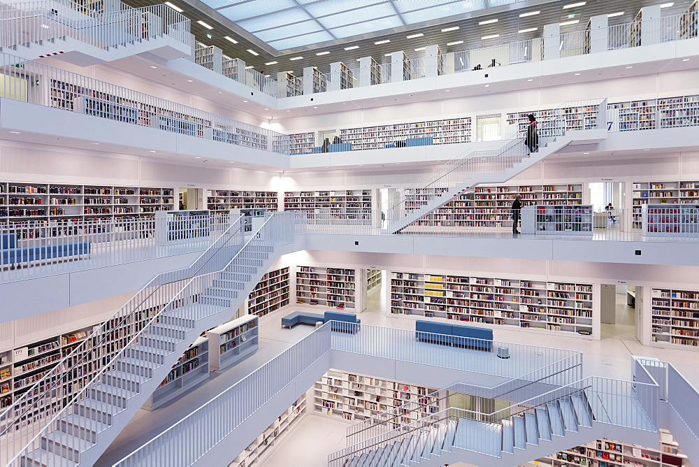 Interior view, New Public Library, Mailaender Platz Square, Architect Prof. Eun Young Yi, Stuttgart, Baden Wurttemberg, Germay, Europe - 1160-2354