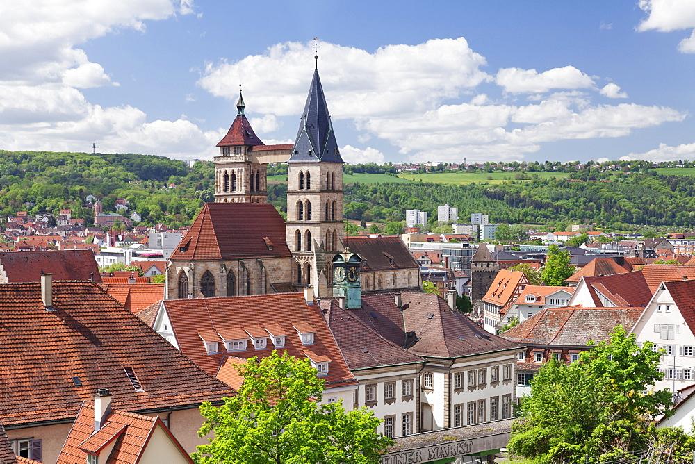 Old Town with St. Dionysius church (Stadtkirche St. Dionys), Esslingen (Esslingen-am-Neckar), Baden-Wurttemberg, Germany, Europe