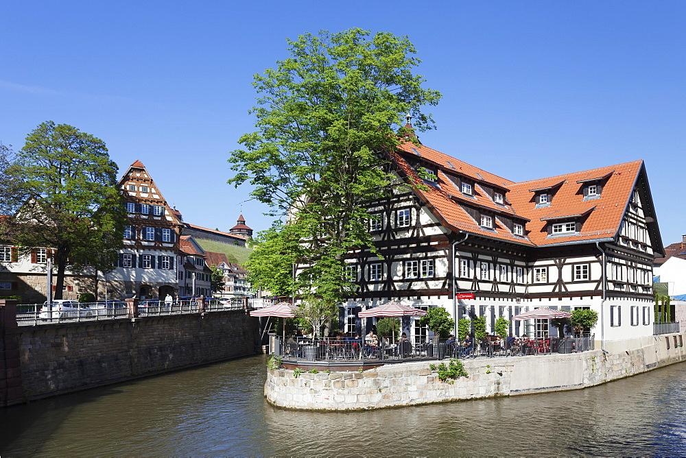 View over Wehrneckarkanal Chanel to Schwoerhaus house and castle, Esslingen (Esslingen-am-Neckar), Baden-Wurttemberg, Germany, Europe