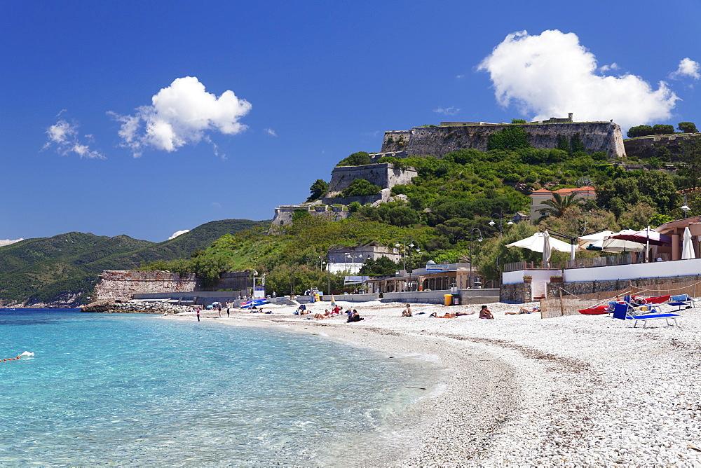 Le Ghiaie Beach, Forto Falcone Fortress, Portoferraio, Island of Elba, Livorno Province, Tuscany, Italy, Europe