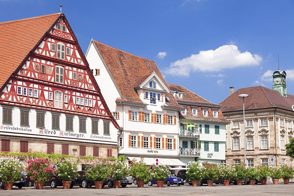 Kielmeyer House and new Town Hall at the market place, Esslingen, Baden-Wurttemberg, Germany, Europe