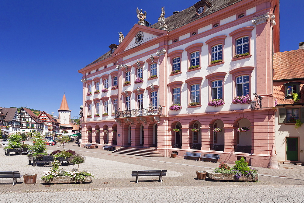 Town Hall on the market square, Obertorturm tower, Gengenbach, Kinzigtal Valley, Black Forest, Baden Wurttemberg, Germany, Europe