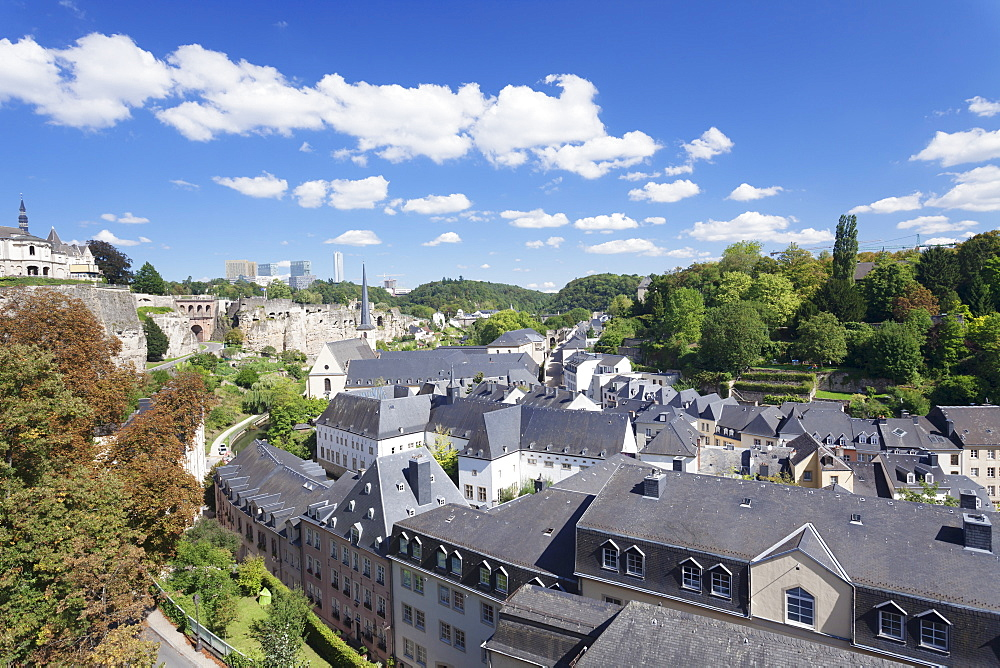 View over the old town with Neumunster Abbey, UNESCO Wolrd Heritage Site, in the background EU buildings on Kirchberg District, Luxembourg City, Grand Duchy of Luxembourg, Europe