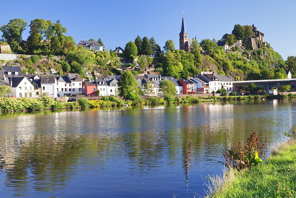 Saarburg with castle ruin and Saar River, Rhineland-Palatinate, Germany, Europe