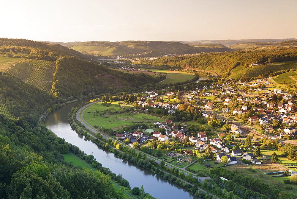 View over the Saar Valley with Saar River near Serrig, Rhineland-Palatinate, Germany, Europe