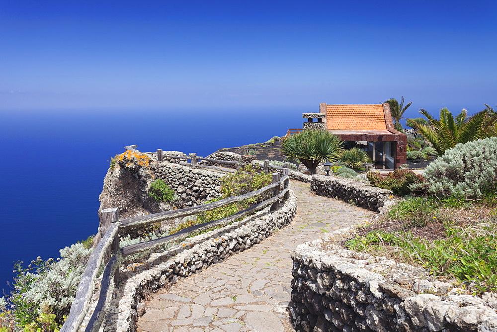 Restaurant at Mirador de la Pena, architect Cesar Manrique, UNESCO biosphere reserve, El Hierro, Canary Islands, Spain, Atlantic, Europe
