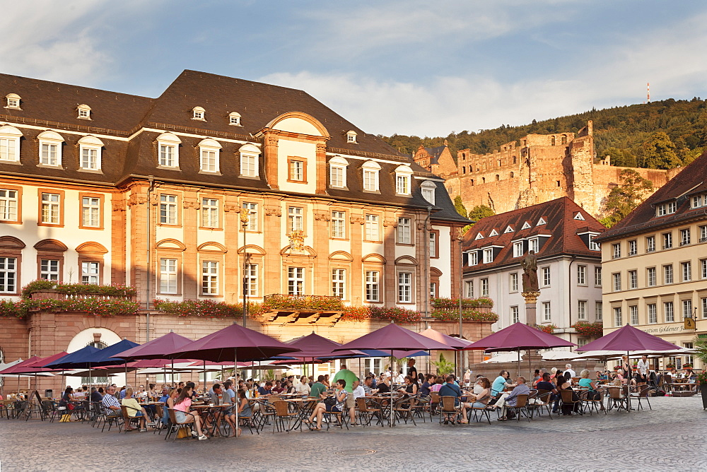Restaurant and street cafe at the market square, town hall and castle, Heidelberg, Baden-Wurttemberg, Germany, Europe