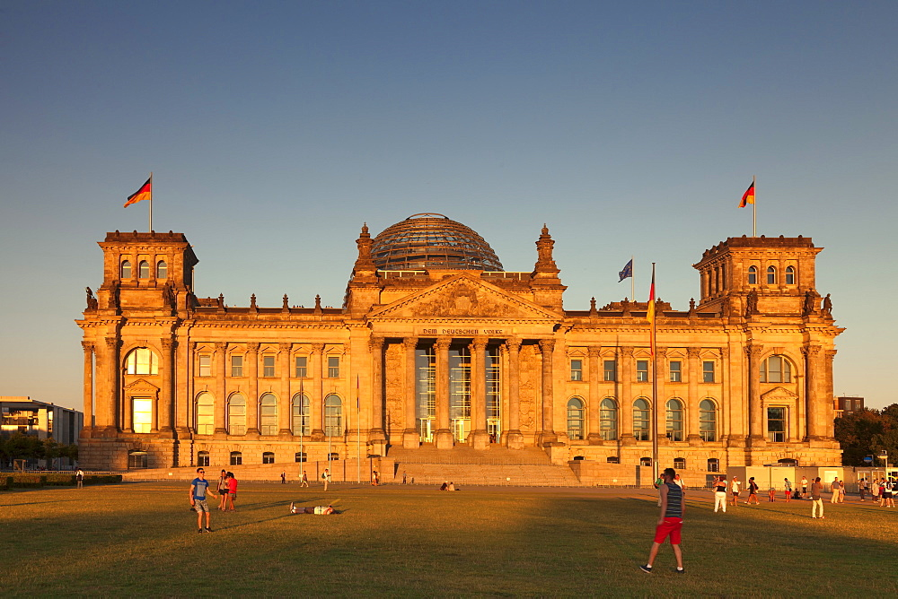 Reichstag Parliament Building at sunset, The Dome by architect Norman Foster, Mitte, Berlin, Germany, Europe