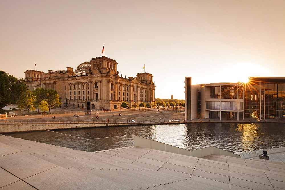 Reichstag Parliament Building at sunset, The Paul Loebe Haus building, Mitte, Berlin, Germany, Europe
