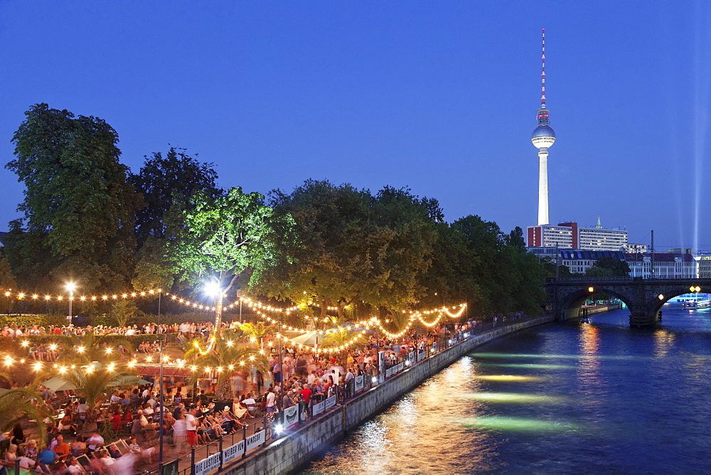 Urban beach Strandbar Mitte near Bode Museum, TV Tower, Spree River, Mitte, Berlin, Germany, Europe