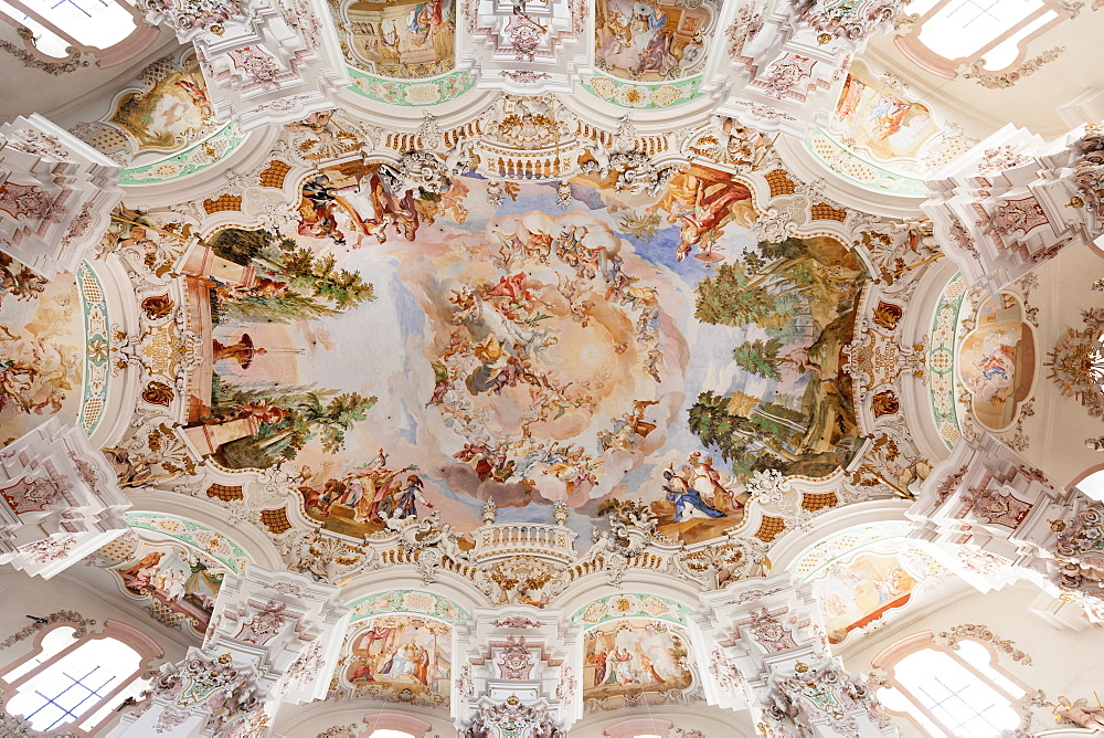 Ceiling frecso, St. Peter and Paul church, Steinhausen, Upper Swabian Baroque Route, Upper Swabia, Baden-Wurttemberg, Germany, Europe