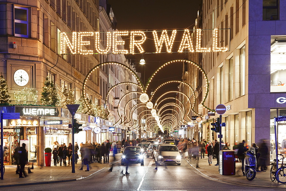 Neuer Wall street with christmas decoration, Hamburg, Hanseatic City, Germany